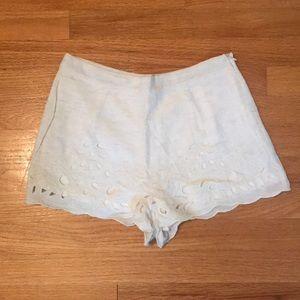 Eyelet Cream Shorts